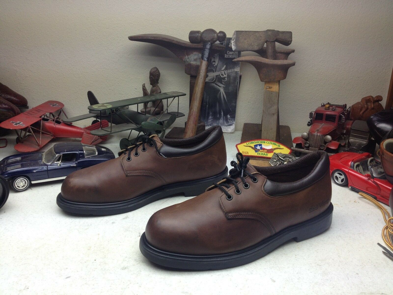 USA RED WING RUSTIC BROWN BROWN BROWN LEATHER WESTERN TRAIL BOSS RANCH WORKSHOP SHOES 14D 78a828