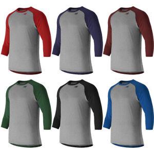 e277b3818e567 New Balance Men's 3/4 Sleeve Raglan Baseball Shirt Top TMMT601   eBay