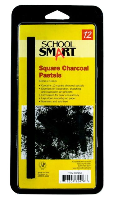 School Smart Square Compressed Charcoal Stick, 3/8 X 2-3/8 Inches, Black, Pac...