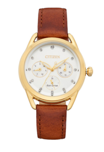 Citizen-Eco-Drive-LTR-Women-039-s-Crystals-Brown-Leather-Strap-38mm-Watch-FD2052-07A