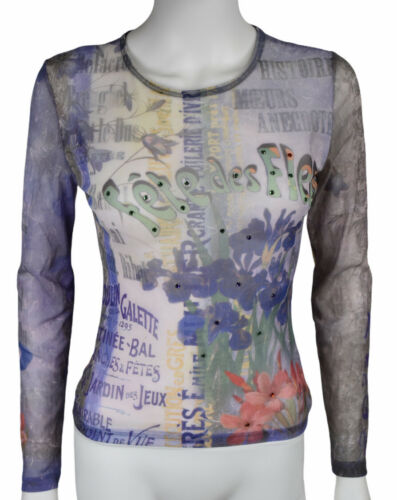 Vtg 90s Women's S Printed Mesh Top with Gems EUC