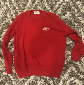 Vintage-Mens-Coca-Cola-Red-Sweater-XL-V-Neck-Made-In-USA-70s