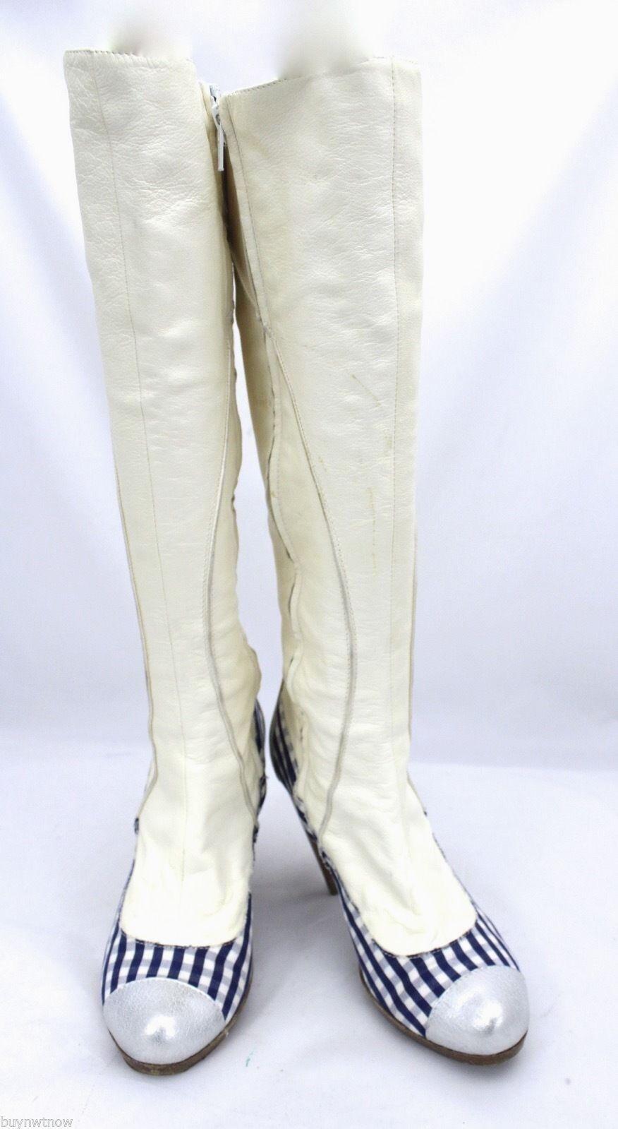 AUTHENTIC Gigi Favela Leather Heels Rockabilly stivali blu Gingham Leather 5.5