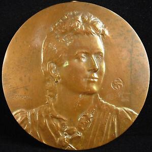 Medaille-fonte-vers-1900-portrait-d-039-acteur-ou-artiste-par-Szirmai-10-cm-medal