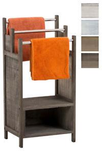 Détails sur Porte serviettes OSAKA bois tablette barre métal rangement  casier salle de bain