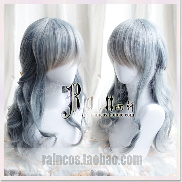 Wig Lolita Cosplay Harajuku Sweet Dolly Gradient princess Gray Mixed Blue