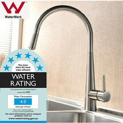 Kitchen Faucet Mixer Tap Pull Out Hand Held Shower Laundry Sink Brushed WELS AU