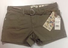 NEW INDIGO REIN Shorts Size 1 Brown Flat Front Lace Belt Stretch Color Zip Pants