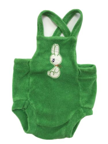 Vintage 70's Grace Green Terry Cloth Bunny Baby Ro