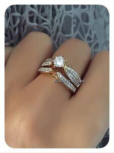 Bague-Solitaire-Double-anneau-Plaque-or-18-CARATS-750-000-5-Microns-Bijoux-Femme