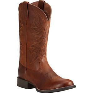 4f3d5150653 Details about 10021700 Ariat Men's Sport Horseman Round Toe Cowboy Boots -  Brown NEW