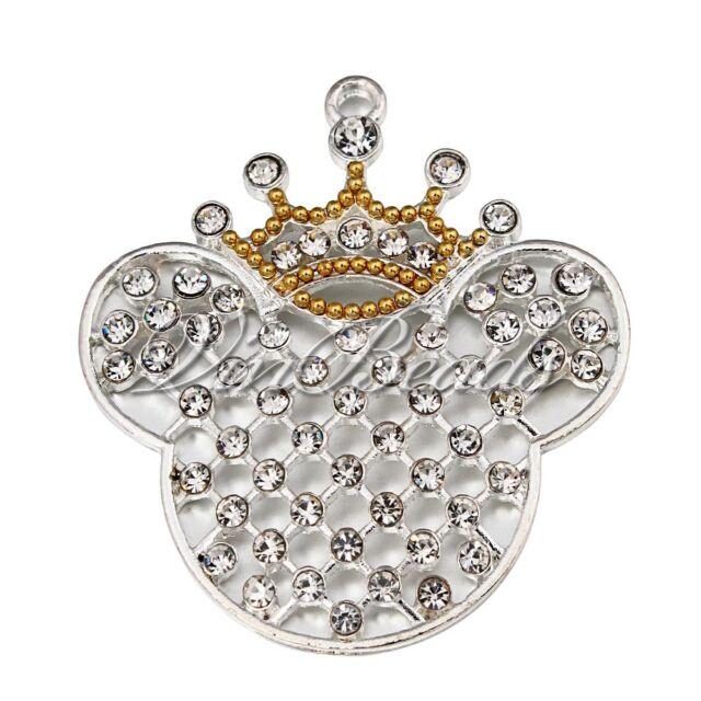 5pcs 55x50mm Silver Crown Mouse Head Pendant For Bubblegum Gumball Necklace
