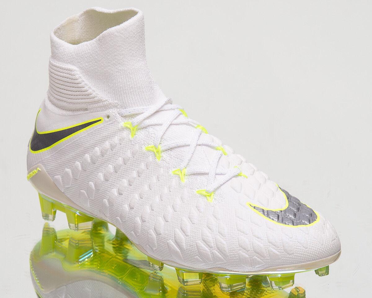 Nike Hypervenom 3 Elite DF FG Men Soccer Cleats White Silver Volt AJ3803-107