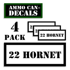 "22 HORNET Ammo Can 4x Label Ammunition 3""x1.15"" Caliber sticker decals 4 pack WT"