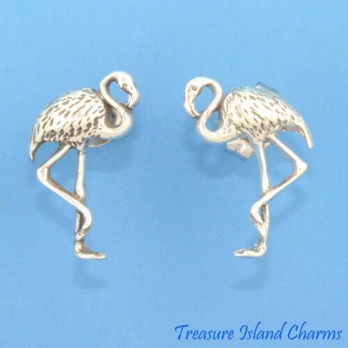 Flamingo Bird .925 Solid Sterling Silver Stud Post Earrings Hypoallergenic Posts