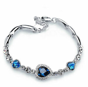 Image Is Loading Hot Fashion Women S Blue Crystal Jewelry Silver