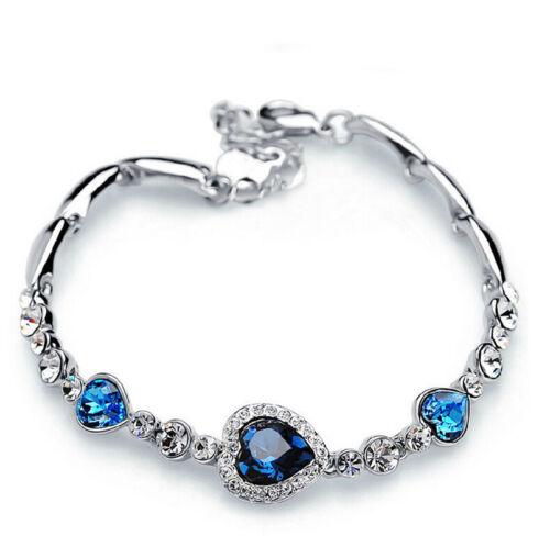 Fashion Femmes Plaqué Argent Cristal Bleu Gemme Bijoux Charm Bracelet Bangle