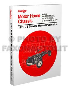 1973 1974 1975 dodge motor home repair shop manual m300 m500 rh ebay com Dodge Magnum Repair Manual Dodge Magnum Repair Manual