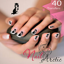40  x Black Cat White Chest Nail Art Sticker Water Decals Transfer Stickers Tips