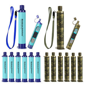 1-6 Pack Portable Survival Water Filter Straw Purifier Camping Emergency Gear