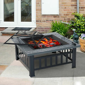 Details About New Black Square Outdoor Fire Pit Bbq Patio Heater Log Burner Metal Stove Grill