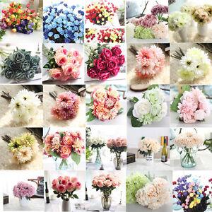 Soie Artificielle Fausse Fleurs Feuille Pivoine Floral Bouquet de Mariage Fête
