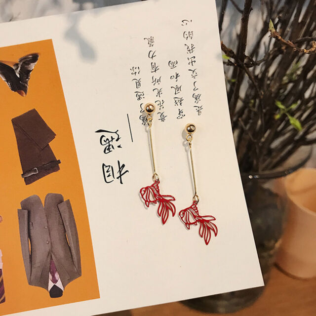 Festive Creative Hollow Goldfish Dangle Earring for Women Party Jewelry Gifts l