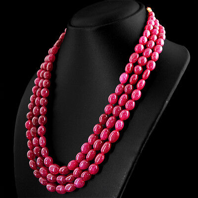 Details about  /1195.00 Cts Earth Mined 4 Strand Red Ruby Round Shape Beads Necklace NK 73E35