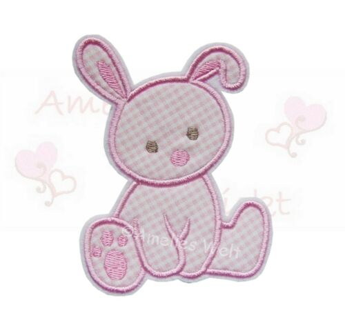 Hase rosa vichy Applikation Aufbügler Aufnäher Patch Bügelbild Sticker