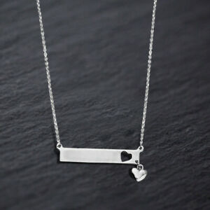 Sterling-Silver-925-White-Gold-Plated-Bar-Pendant-Necklace-with-Heart-Charm