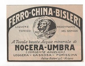 Pubblicita-1923-CHINA-FERRO-BISLERI-LIQUORE-old-advert-werbung-publicite-reklame