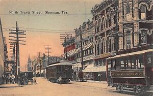 TX-RARE-1900-s-Trolley-on-North-Travis-Street-at-Sherman-Texas-Grayson-County
