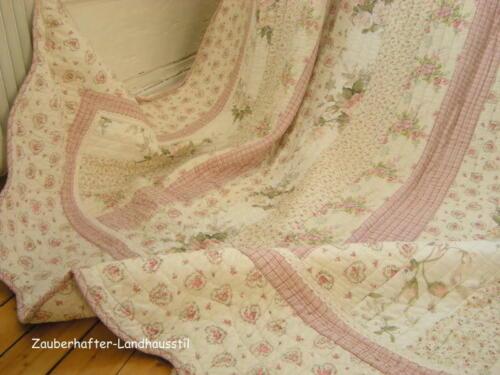 Tagesdecke Einzelbett Krabbeldecke CHRISTINE 140x220 cm Rosa Creme Sofaüberwurf