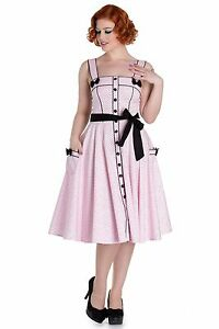 Hell-Bunny-Martie-Full-Circle-DRESS-Baby-Pink-polka-dots-pin-up-Retro-40-039-s-50-039-s