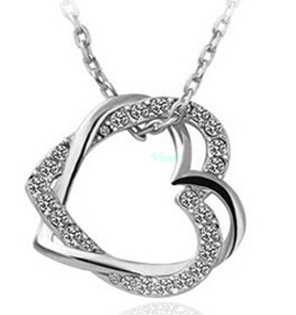 Double Heart Crystal Rhinestone Silver ,Rose Gold Plated Chain Pendant Necklace