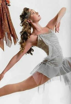 Dreamy Angel White Silver Lyrical Ballet Curtain Call Dance Costume Dress Large