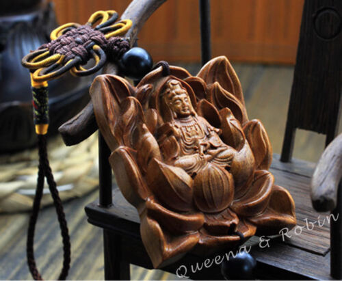 Wood Carving Lotus Guan Kwan Yin Buddha Statue Car Pendant Amulet Wooden Crafts