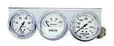 "Auto Meter Autogage 3 Gauge Oil Press /Volt /Water Temp Chrome White 2-5/8"""