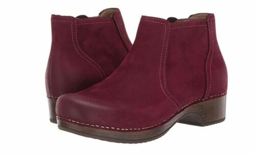 New In Box DANSKO Womens Barbara Wine Burnished Leather Ankle Boots 942588780