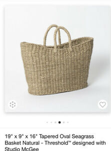 """Threshold Tapered Oval Seagrass Basket By Studio McGee 19""""L X 9""""W X 16"""" H NWT"""