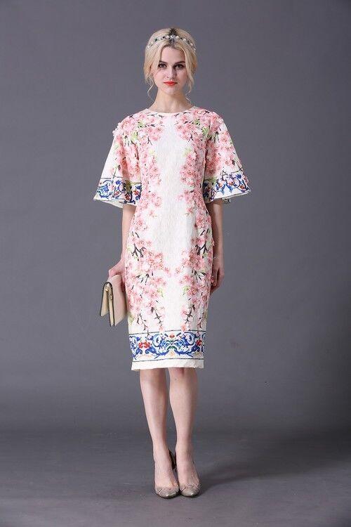 2018 spring new stylish Plum applique floral trumpet sleeve slim refined dress