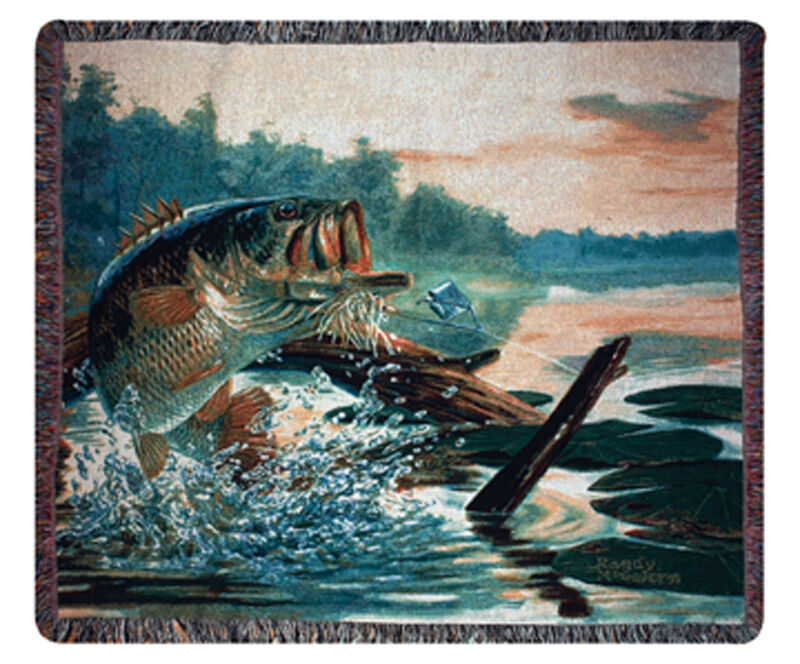 Large ~ Mouth Bass ~ Large Buzz Off Fisherman Tapestry Afghan Throw 4bd4d4