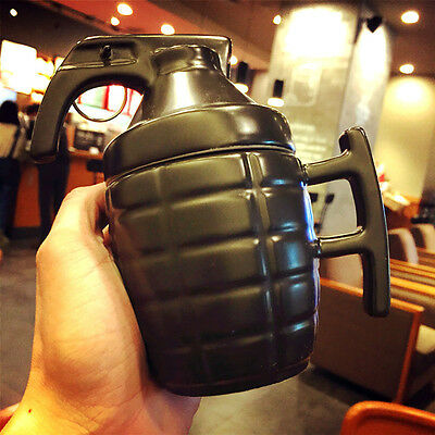Cool Creative 3D Army Grenade Shape Mug Ceramic Cup /w Lid Coffee Tea Cup Gift