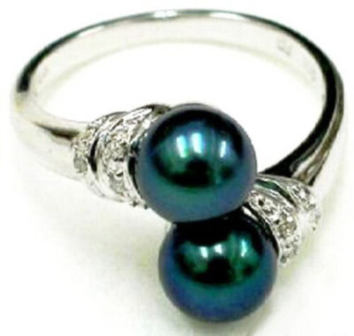 Fashion Double Genuine Black Pearl White Gold Plated Crystal Ring Size 6.7.8.9
