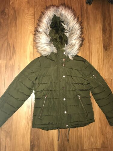 Topshop Hoo Parka Puffer Quilted Puffa Jacket Ladies Faux Coat 16 Size Fur Khaki qCExp7w4