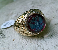Bague Chevaliere Doré Armoiries Russes Russian Aigle Eagle Ring Blason