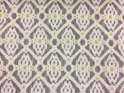 "French Petite Ikat Linen Ochre Green//Grey//Oatmeal 280cm//108/"" wide Curtain Fab"