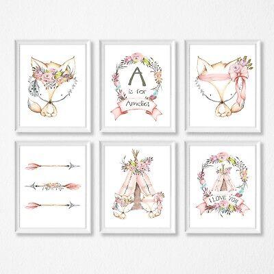 Fox Teepee Woodland Animals Nursery Wall Decor Prints 7 Style Choices Tribal