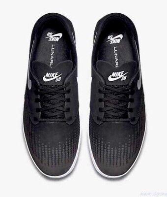 size 40 df7dc 3a5bb NIKE SB LUNAR ONESHOT SIZE 10 Black White Suede Skateboard NIB NEW