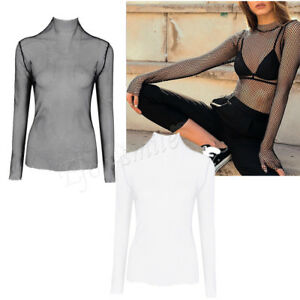 becad923 Sexy Womens Mesh Top High Turtle Neck See Through Sheer Long Sleeve ...
